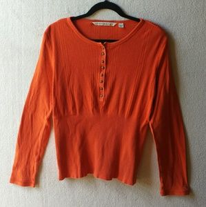 Tommy Hilfiger Orange Buttoned Long Sleeve Sweater